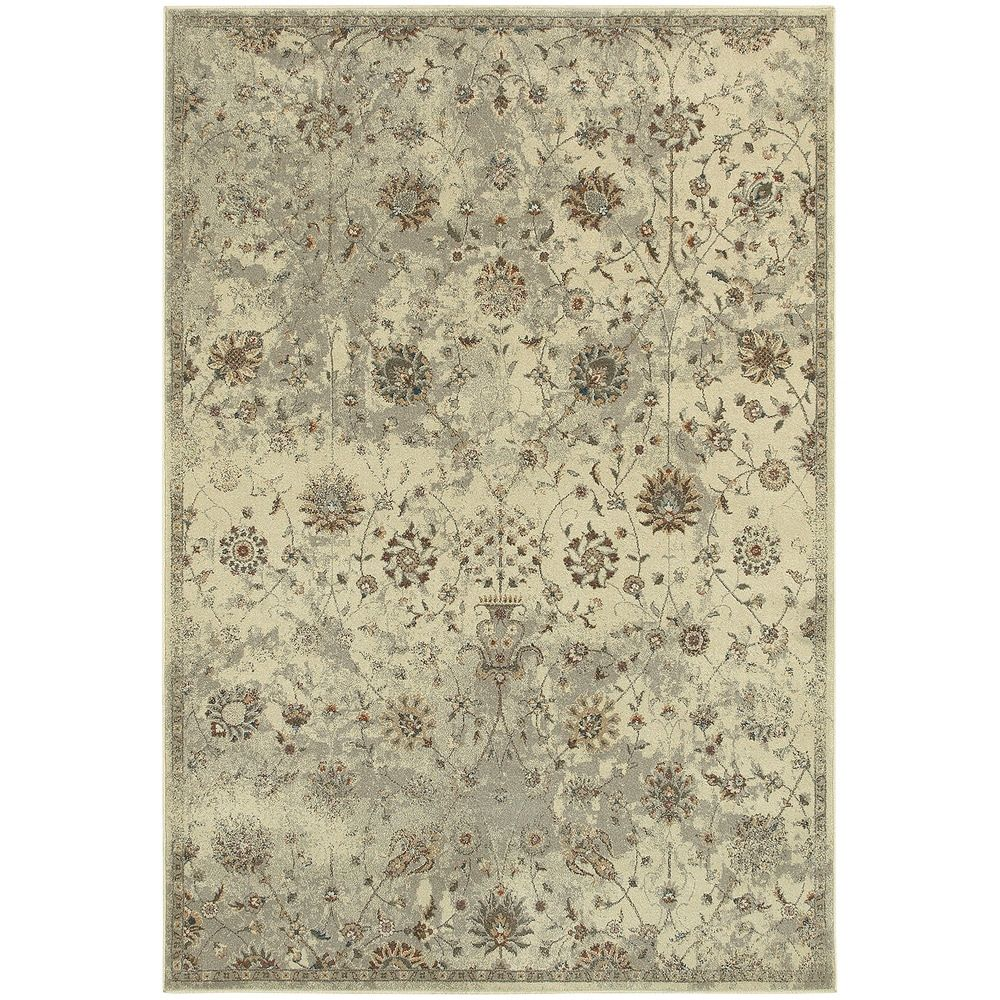 Distressed Traditional Floral Beige Grey Rug 9 10 X 12 10 9