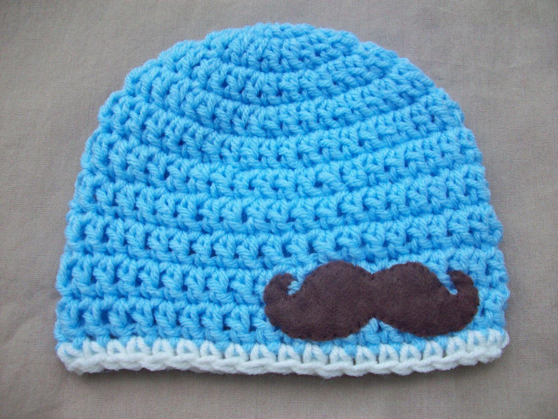 Baby boy crochet hat in blue with felt mustache applique boy baby boy crochet hat in blue with felt mustache applique bankloansurffo Images