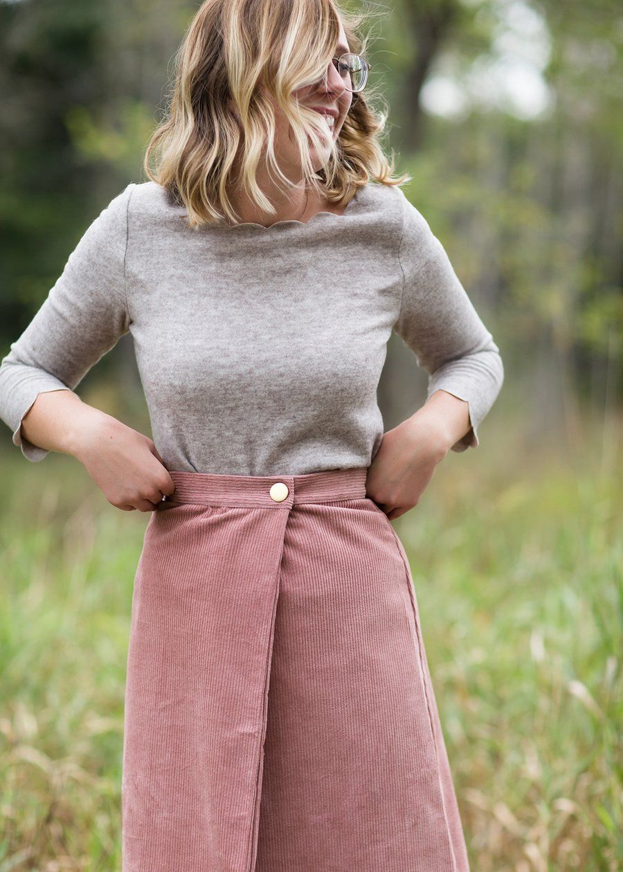 8a357143bb Wrap Corduroy Midi Skirt | Styles We Adore | Inherit Co. in 2019 ...