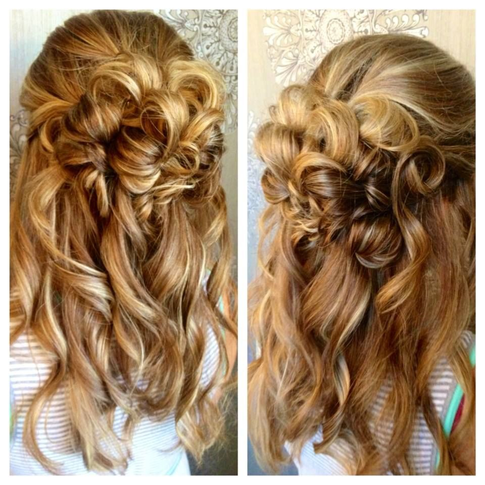 Gorgeous Up-do for Wedding, Bridal or Special Occasion.  Loose Curls, half up.  Stylist from Mirror Mirror Salon & Spa in Kelowna, BC