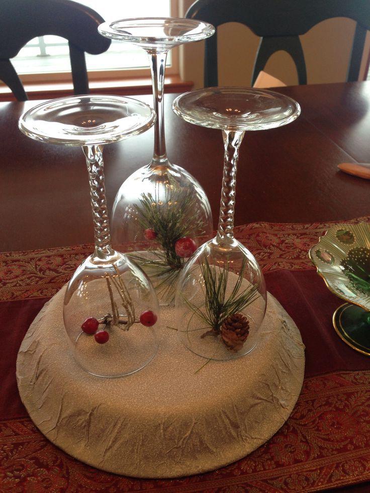 Wine Glass Centerpieces Christmas Decoration Centerpiece Wine Glass Candle Holders Cand Wine Glass Centerpieces Wine Glass Candle Wine Glass Candle Holder
