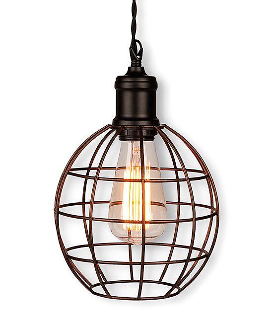 Rustic cage hanging lamp