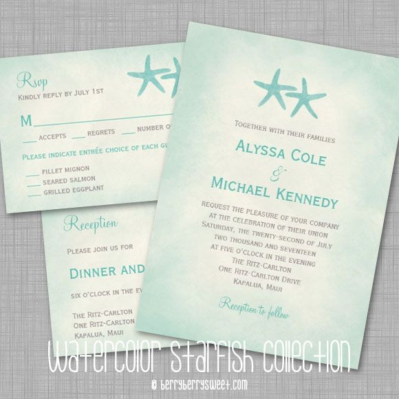 Watercolor Starfish Beach Wedding Invitation Beach wedding