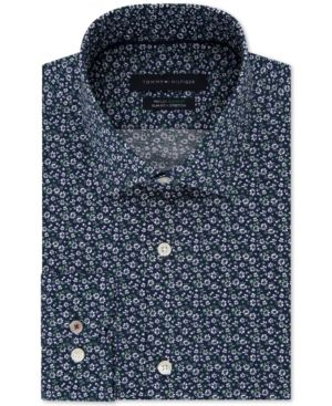 a70b41d0a Tommy Hilfiger Men's Slim-Fit Th Flex Non-Iron Supima Stretch Floral Dress  Shirt - Blue 16.5 34/35