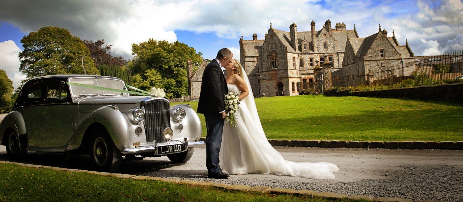 Bride groom outside castle leslie place pinterest perfect