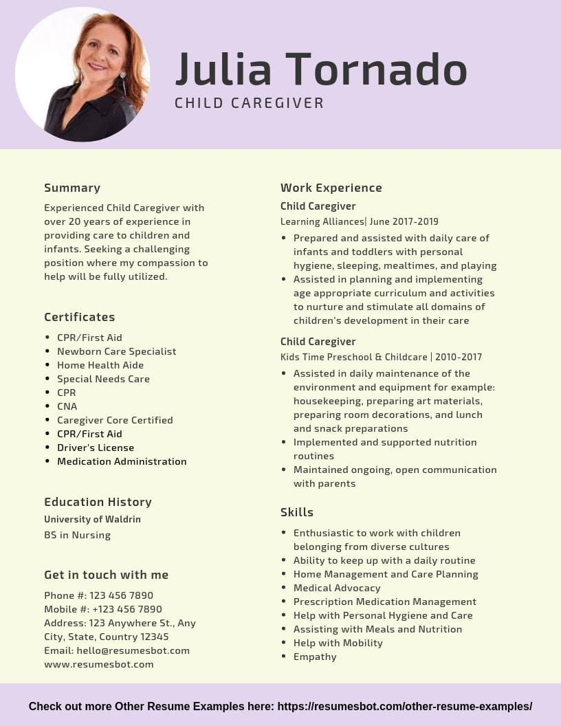 Child Caregiver Resume Samples Templates Pdf Doc 2021 Child Caregiver Resumes Bot Resume Skills Home Health Aide Resume Examples