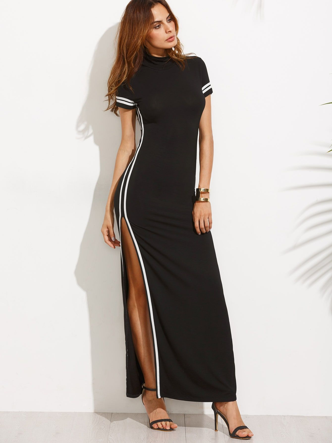 dd5e07f8520 Striped Trim High Split Cutout Back Dress -SheIn(Sheinside)