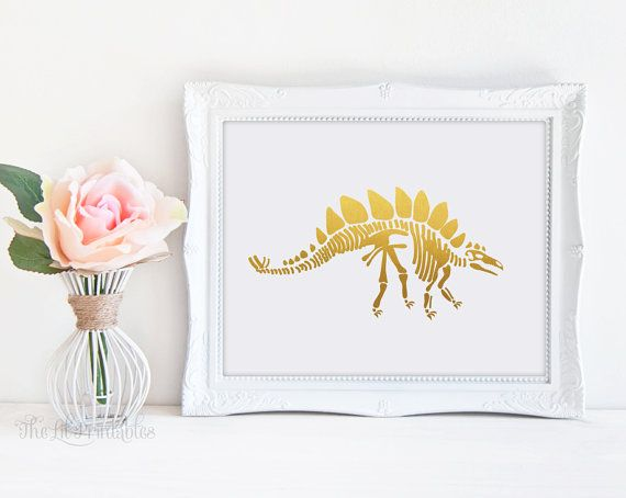 ❣ Please check our announcements tab for coupon codes! ❣  Faux Gold Foil Stegosaurus Printable  ❥ No physical item will be shipped to you. You