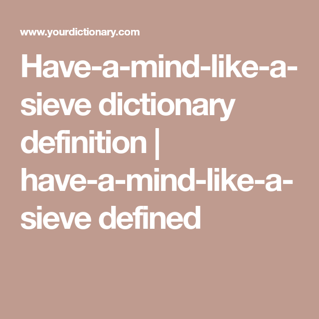 what does the word sieve mean