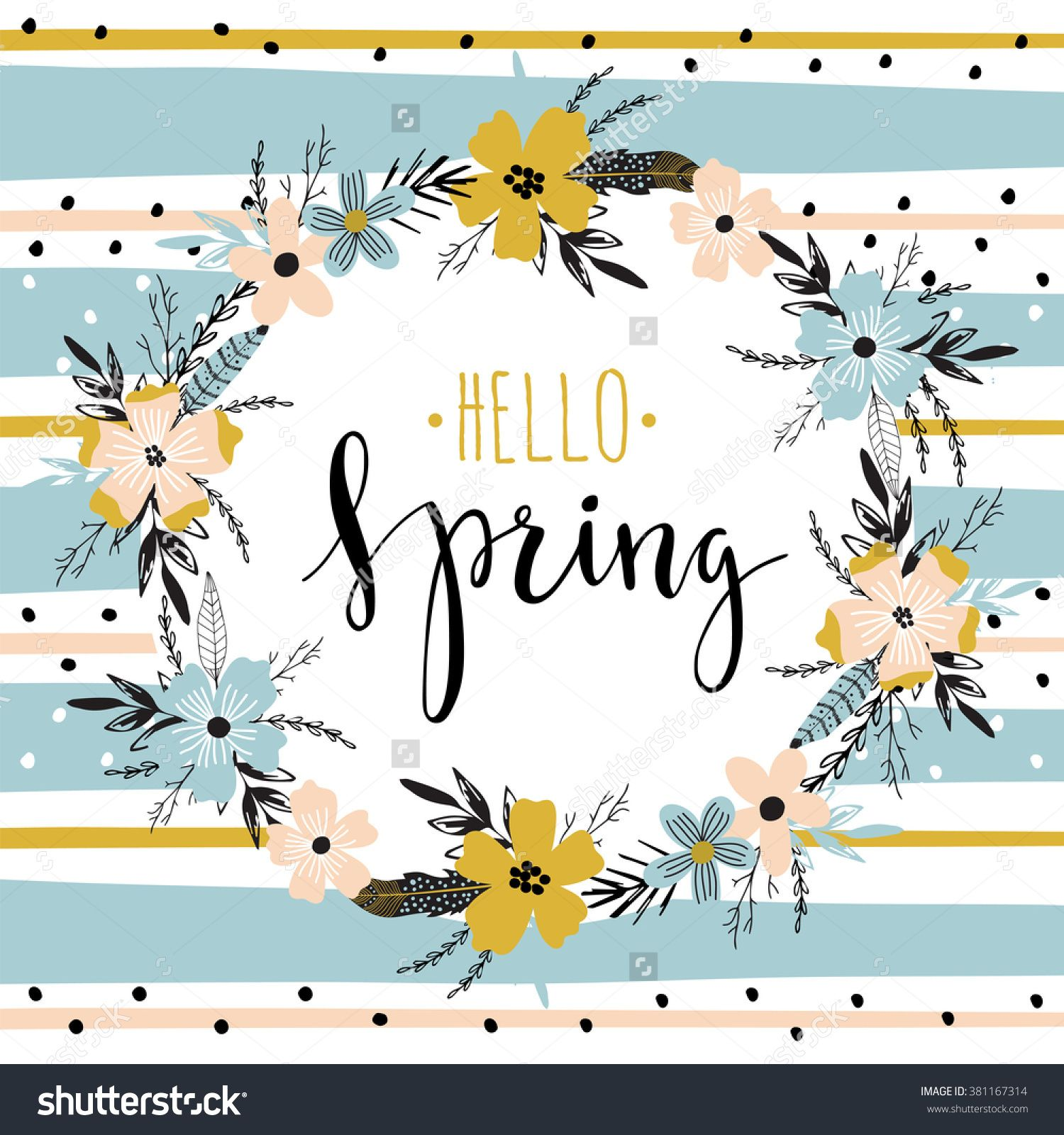 Vector lettering hello spring with wreath of flowers hand drawn vector lettering hello spring with wreath of flowers hand drawn letters for spring greeting card kristyandbryce Gallery