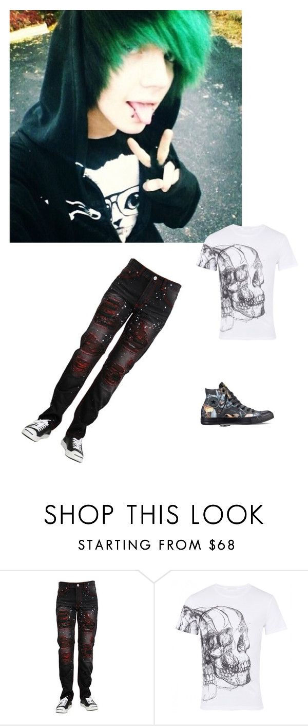 """Alex rp (it sucks)"" by unicorn1233 ❤ liked on Polyvore featuring Alexander McQueen, Converse, men's fashion and menswear"