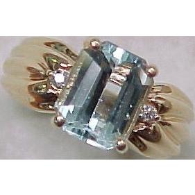 Emerald Cut 3.0 Carat AQUAMARINE Ring Diamond Accent 14K Gold