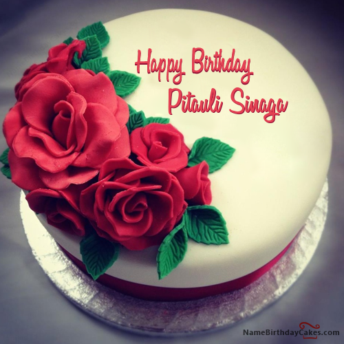 Best Roses Birthday Cake For Lover With Name Pitauli Sinaga