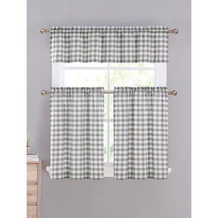 gray & white cotton blend gingham tartan country plaid kitchen curtain set - walmart in 2020