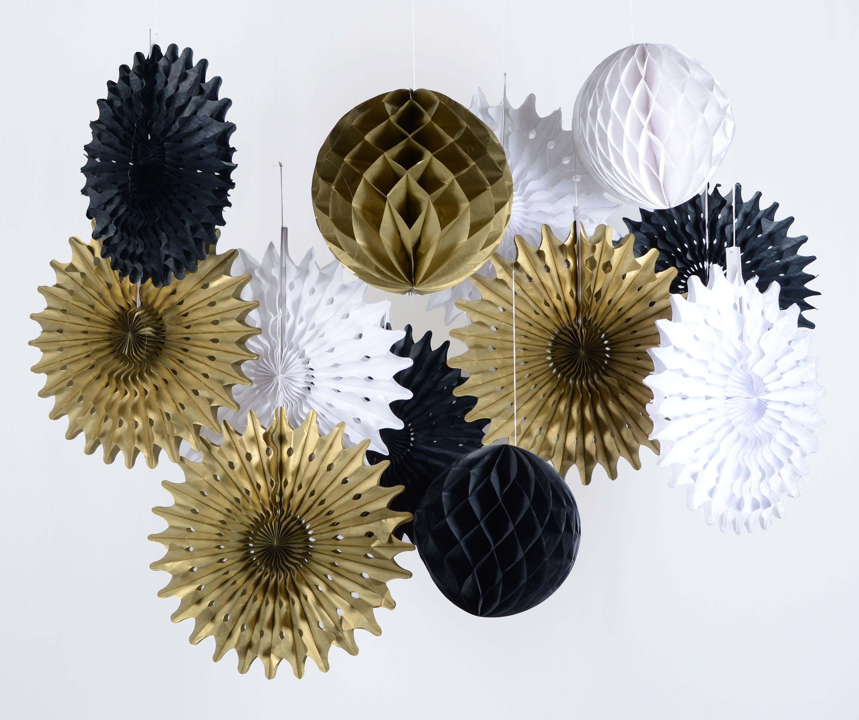 Paper Jazz Black White Gold Honeycomb Ball Fan For Wedding