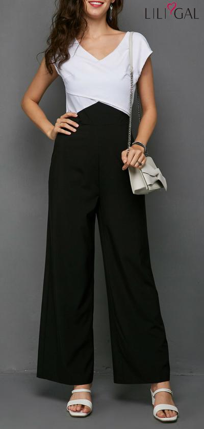 58e01d99a577 V Neck Cap Sleeve Color Block Wrap Jumpsuit  liligal  jumpsuits  womenswear   womensfashion
