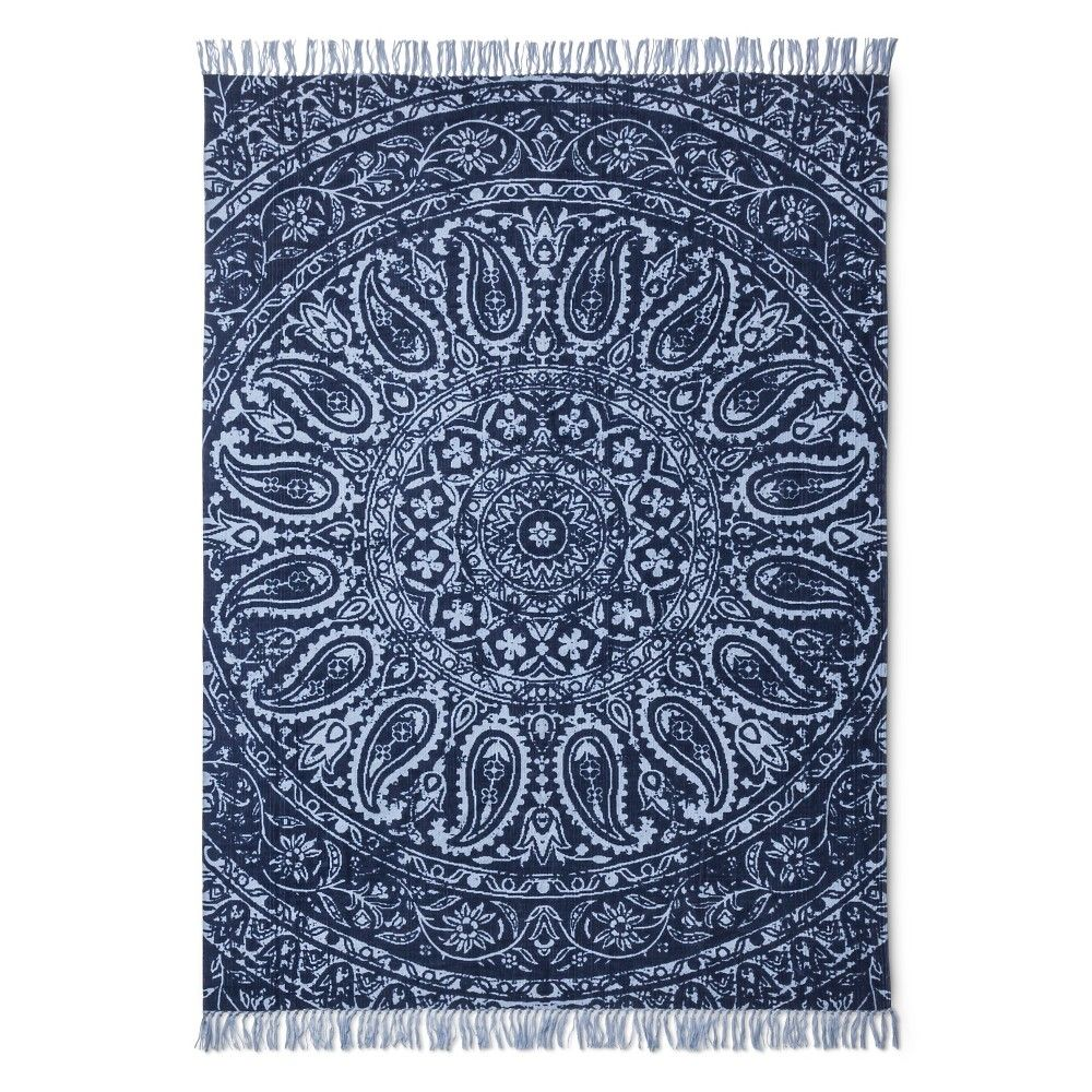 Medallion Hand Woven Printed Area Rug Indigo (Blue) (3'x5
