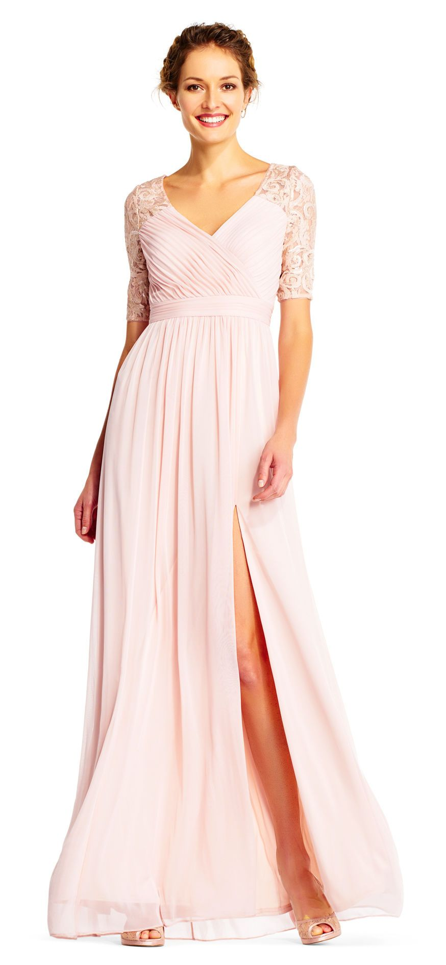 Pin Tucked Tulle Gown with Lace and Sequin Elbow Sleeves | Tulle ...