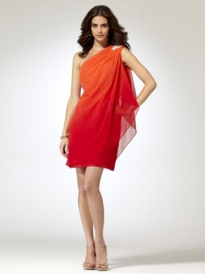 Tangerine Ombre Dress Don't like the rhinestone pretzel on the shoulder or the price though.