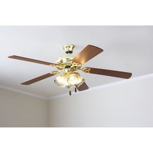 Mainstays 52 Ceiling Fan With Light Kit Bright Brass 17809
