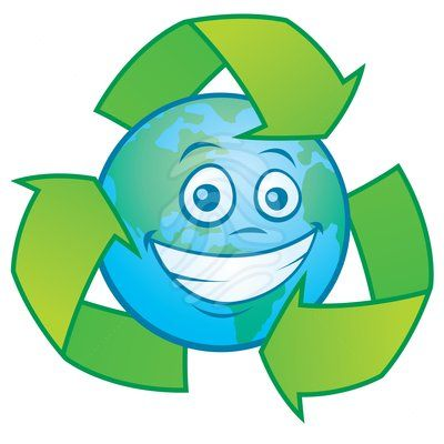 Earth Cartoon with Recycle Symbol - graphics symbols ...