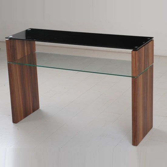Walnut Console Table atlanta black glass console table with underself and walnut leg