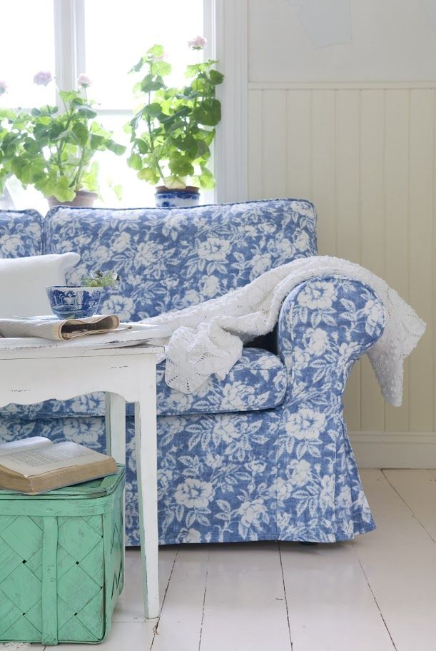 Sofa Mart Ektorp sofa cover in True Rose Light Denim Blue Panama Cotton bemz