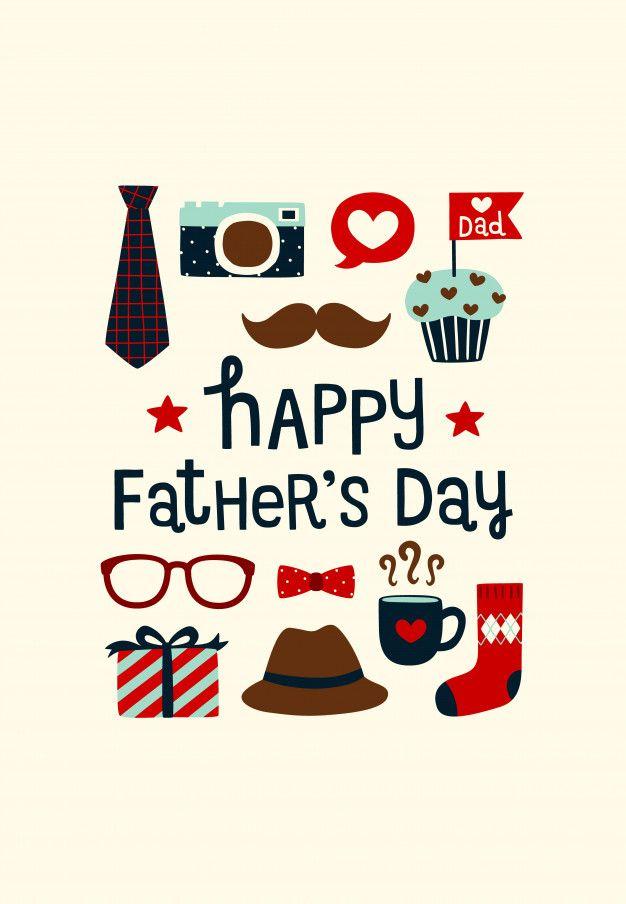 Feliz Día Del Padre Con Lindos Iconos En Estilo Plano
