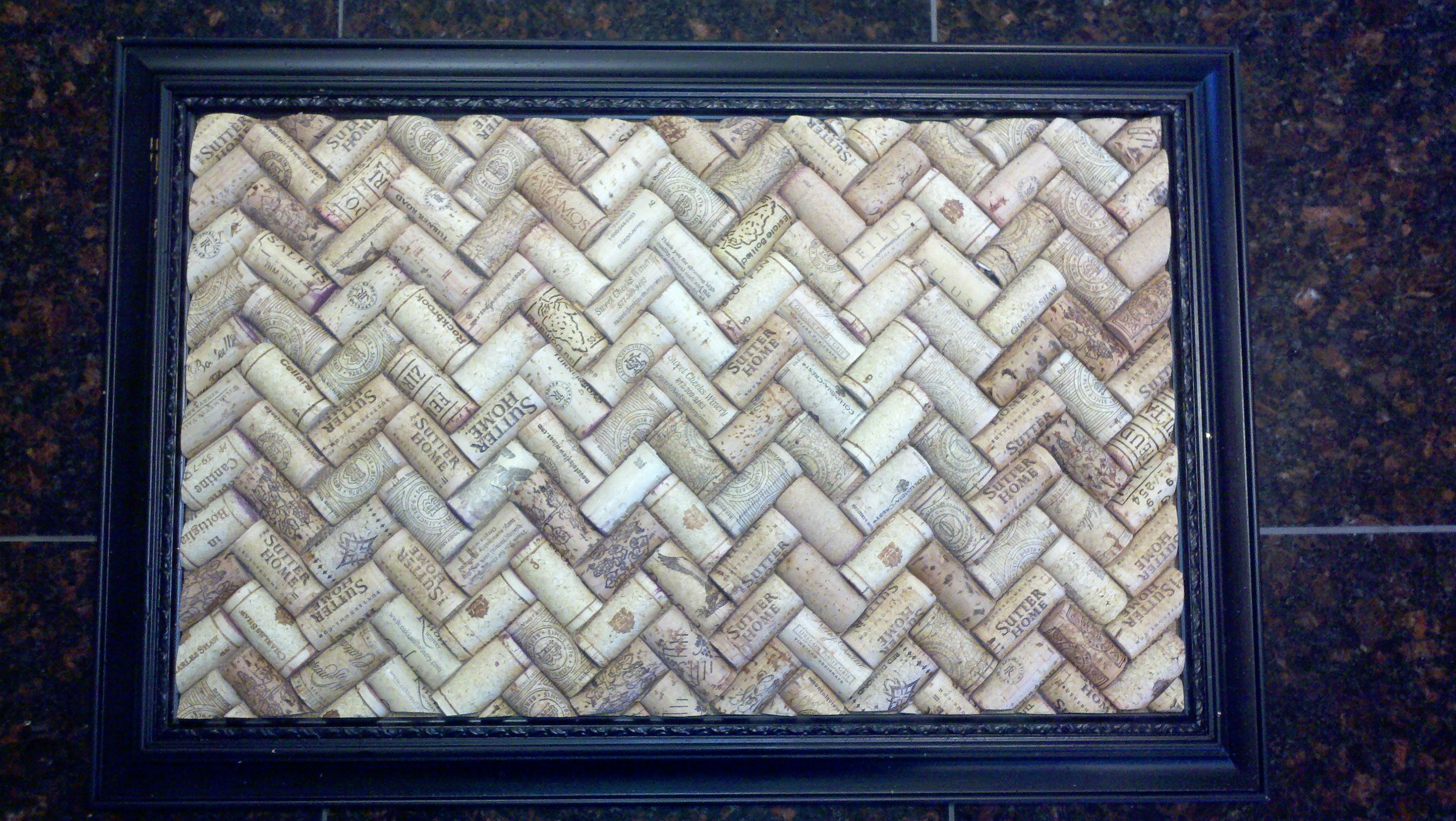 herrinbone chevron cork board start by cutting all of the corks length wise with a chef knife. Black Bedroom Furniture Sets. Home Design Ideas