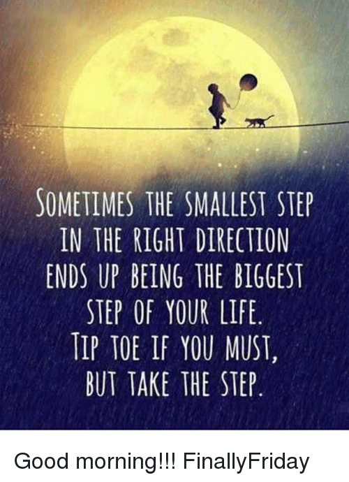 Life Memes And Good Morning Sometimes The Smallest Step In The Right Direction Ends Up Being The Biggest Step Step Up Quotes Small Steps Quotes Steps Quotes
