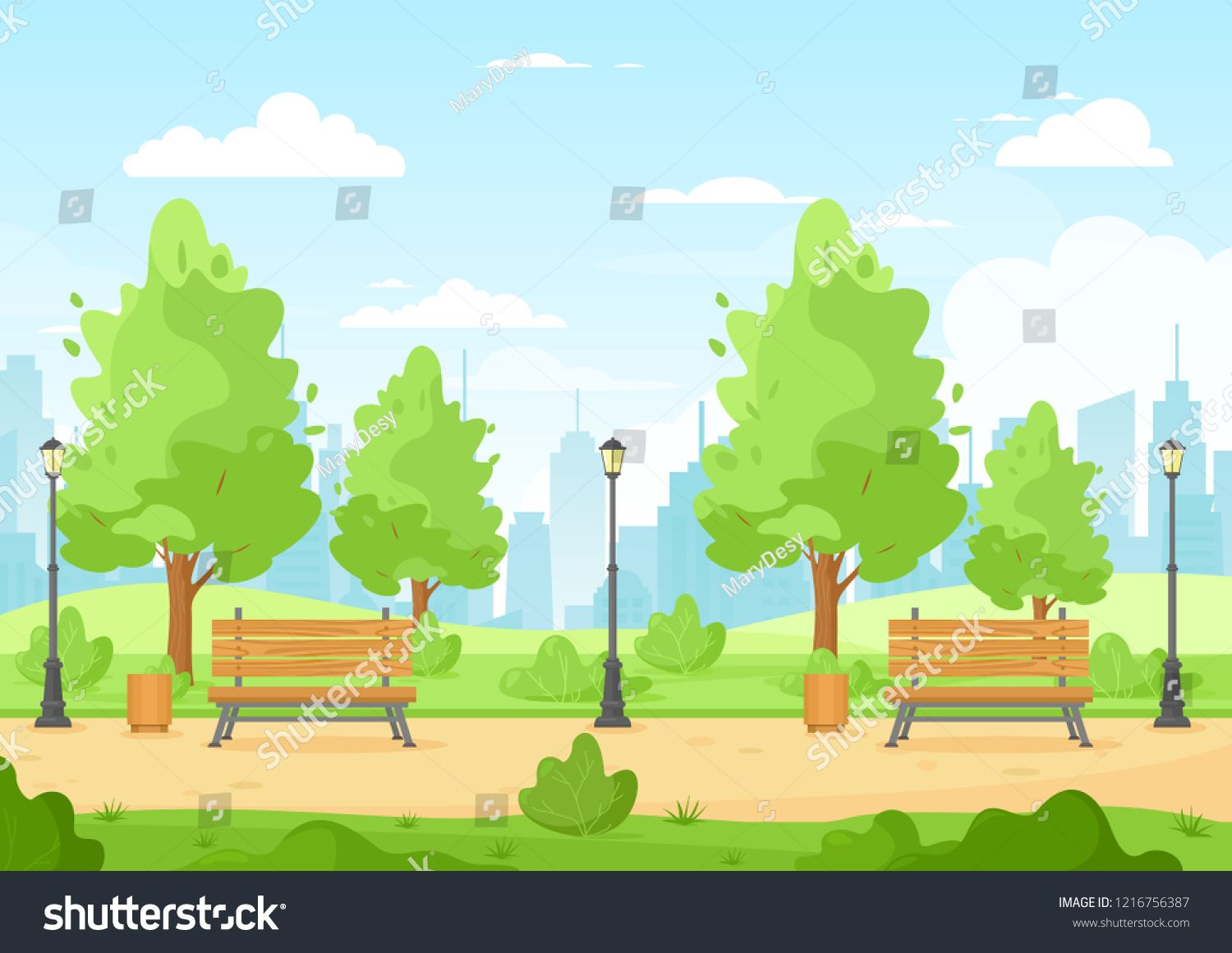 Vector Illustration Of City Park With Trees Bush Bench Trash Can Lantern Walkway Hills And City Skyline Be City Cartoon Vector Illustration Illustration