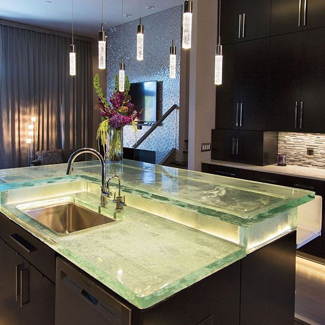 Our Waterwall Texture Fused Glass Countertop.