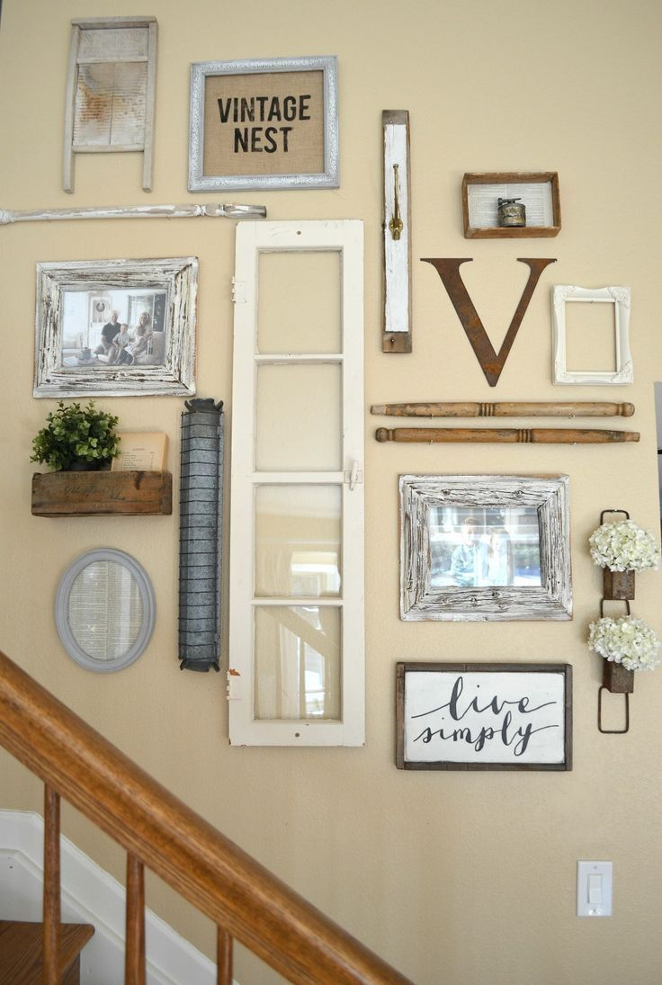 Farmhouse style gallery wall created with vintage finds! | Vintage ...