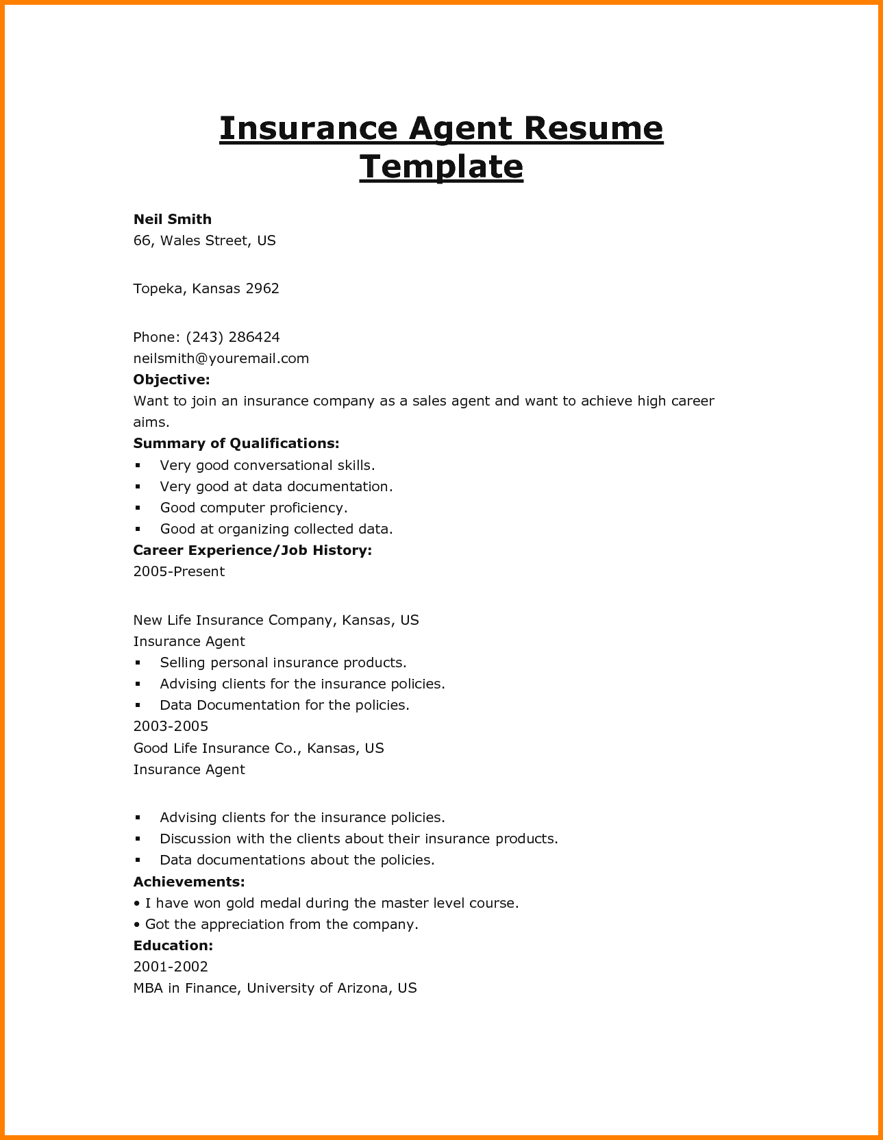 Insurance Agent Resume Samplesurance Job Description For Home