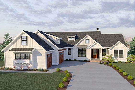 Photo of Plan 280021JWD: 3-Bed Modern Farmhouse Plan with Bonus Room