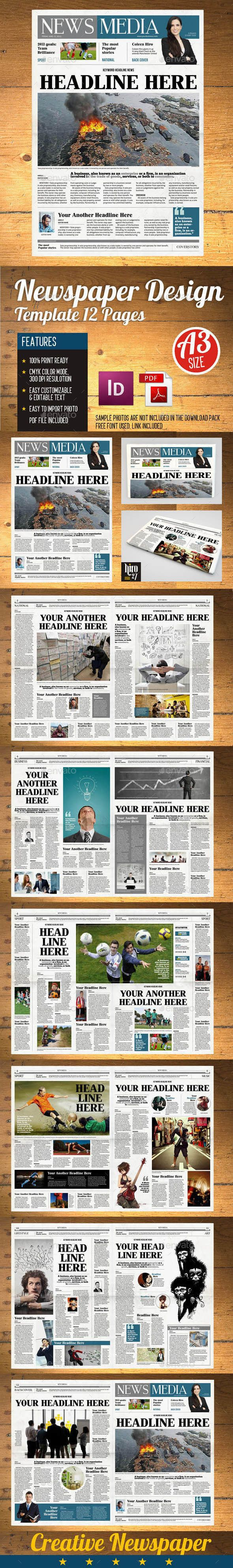 NEWSPAPER TEMPLATE 12 PAGES INDESIGN (A3) - Newsletters Print ...