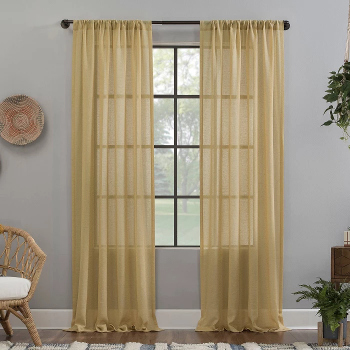 Crushed Texture Sheer Anti Dust Curtain Panel Clean Window