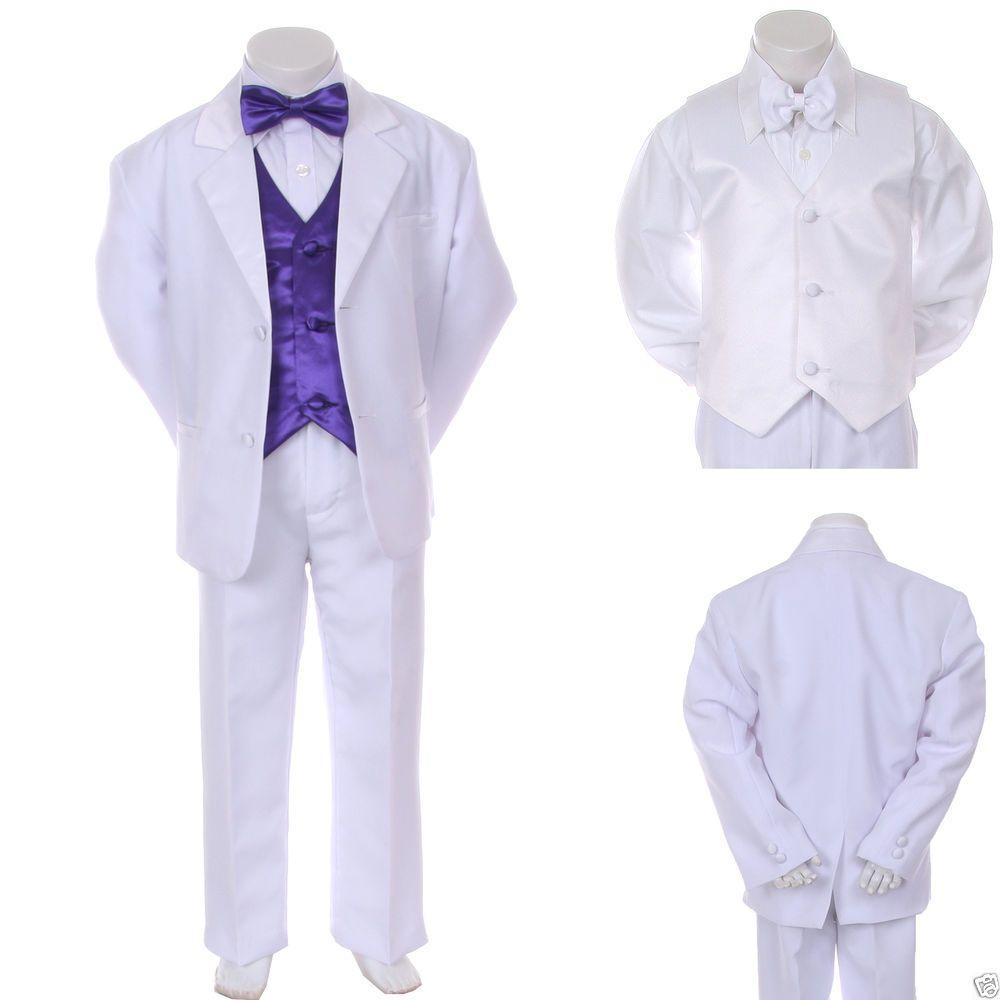 Baby Boy Formal Wedding Party 7PC White Tuxedo Suit + Purple Vest Bow Tie S-4T