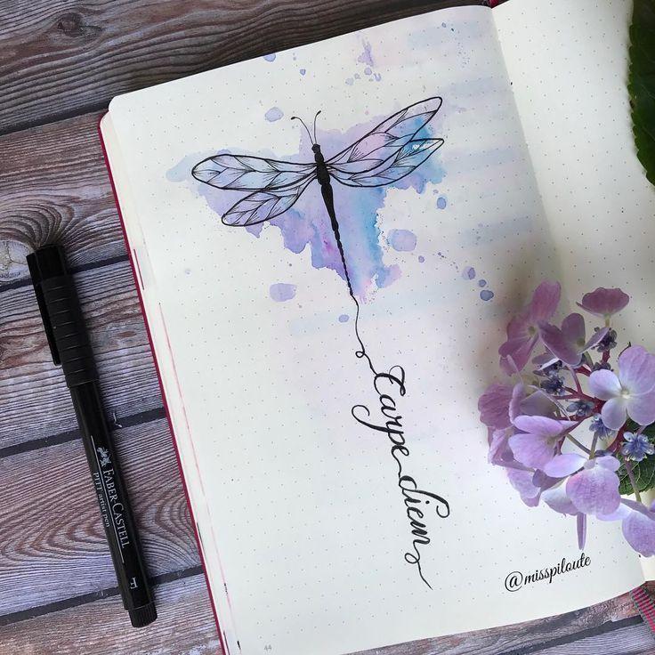 Photo of Auf Instagram: Carpe Diem em #quote #dragonfly #drawing …