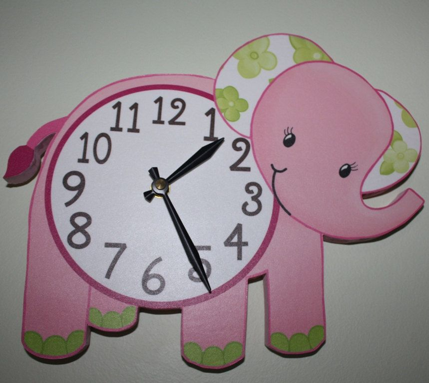 Pink Elephant Jungle Animals Wooden WALL CLOCK for Girls Bedroom ...