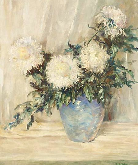 Emil Carlsen White Peonies in a Blue Vase 20th... - still life quick heart