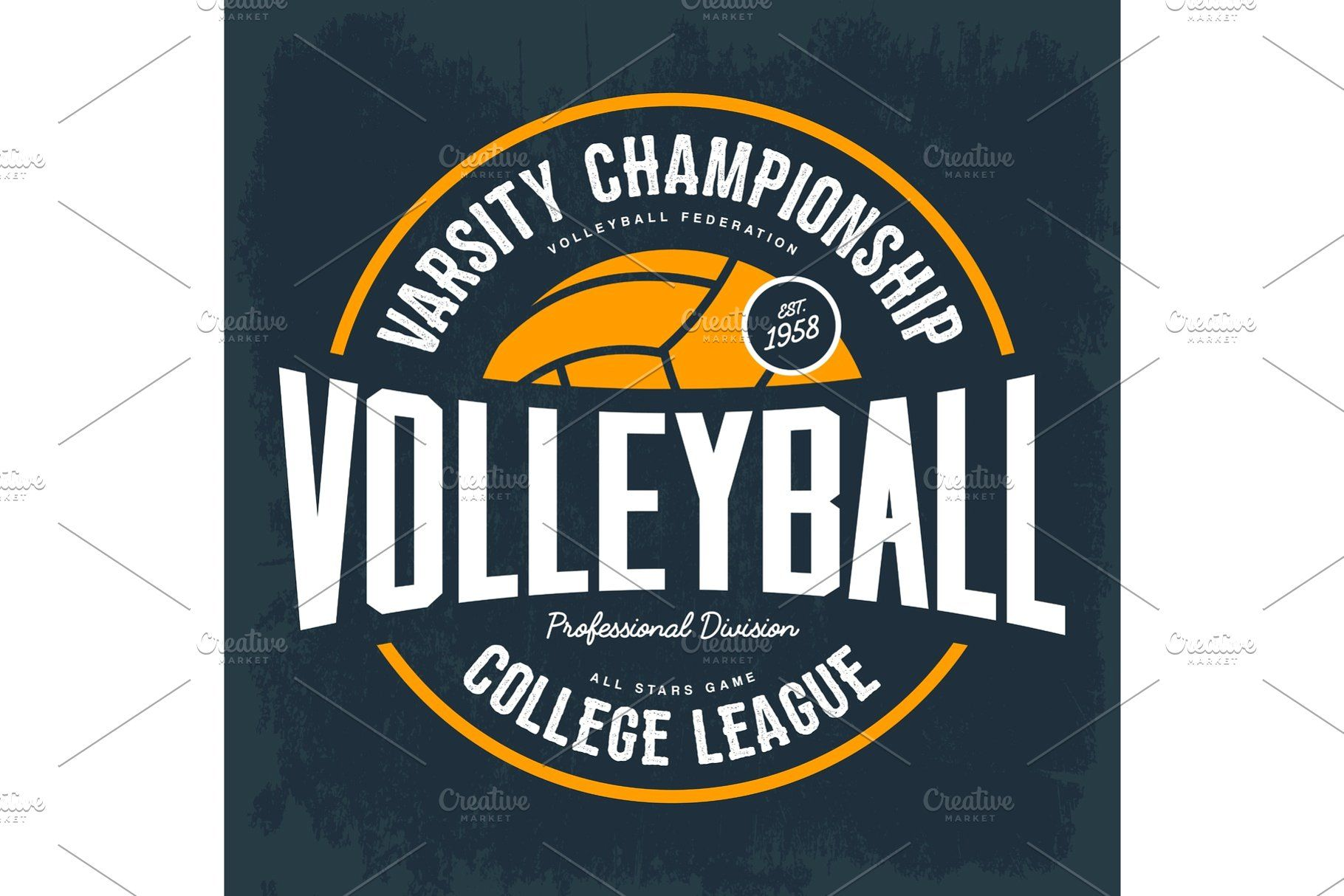 College Tournament Emblem For Volleyball Sport Volleyball Designs Volleyball Sports Team Logos
