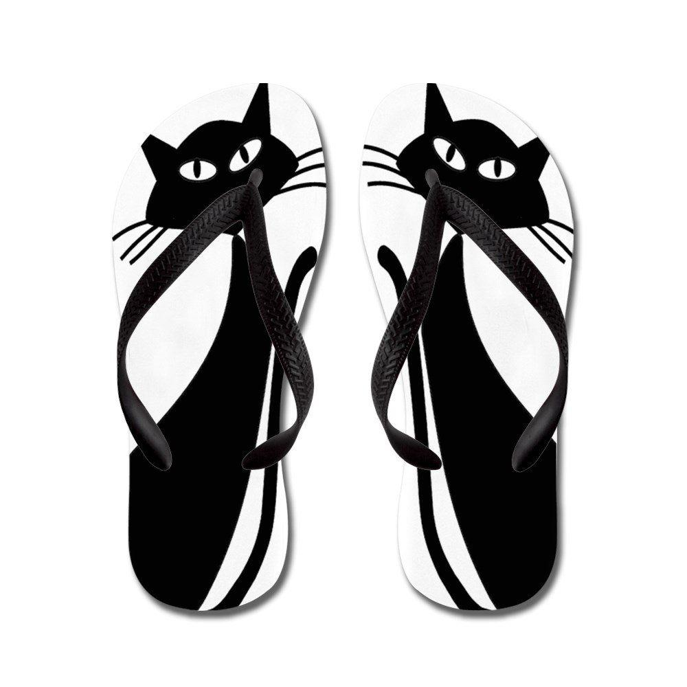 7fc59ebe2199 CafePress Whimsical Black Cats - Flip Flops