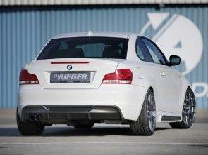 Rieger Rear Bumper Diffuser for BMW 1 Series, E82, E88 (Dual Left Exhaust Outlet) (Matte Black)