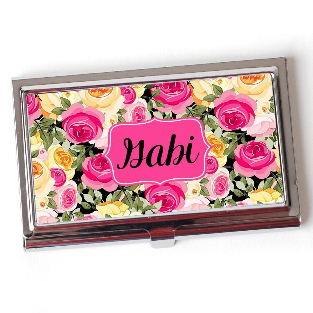 Personalized Business Card Case - Floral Business Card Case ...