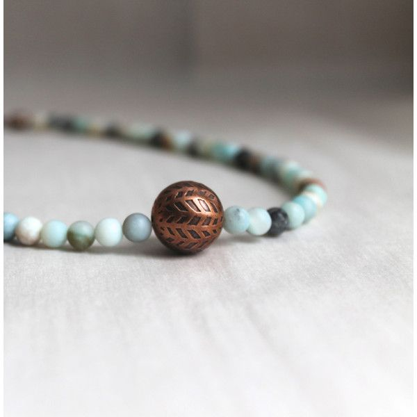 Amazonite and Copper Necklace (£36) ❤ liked on Polyvore featuring jewelry, necklaces, oxidised jewellery, long pendant, long pendant necklace, copper pendant jewelry and oversized jewelry