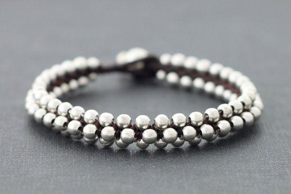 Round Beaded Silver Bracelet by XtraVirgin on Etsy, $8.00