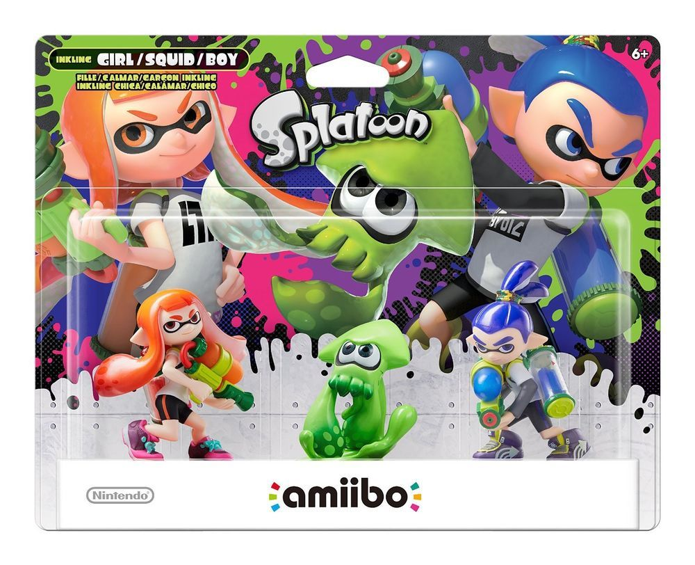 Nintendo Splatoon Amiibo 3 Pack - Inkling Boy, Girl & SQUID New in Sealed Box #Nintendo