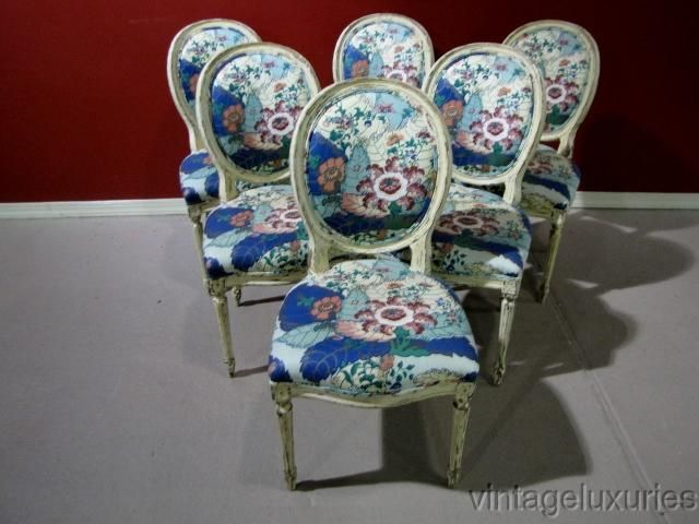 Who Made A Leaf Pattern Fabric 6 Distressed Jansen Style Dining Chairs Ebay