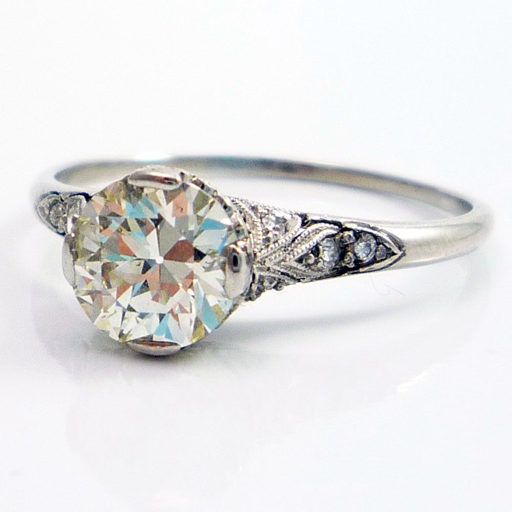 Old european cut elegant diamond solitaire ring in platinum and 18k - Ring Platinum Antique Edwardian European Cut Diamond